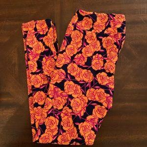 Lularoe TC leggings roses navy and orange new